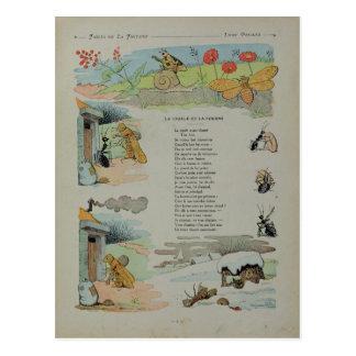 Carte Postale La cigale et la fourmi des fables