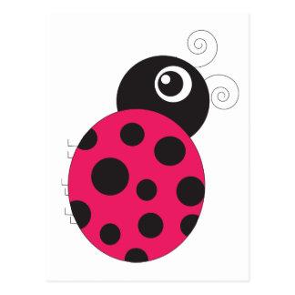 Carte Postale La coccinelle rose et noire s'est fanée