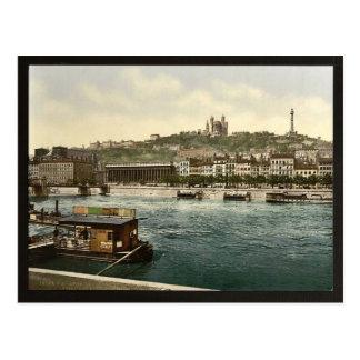 Carte Postale La colline de Fourvi�re de St Antoine Quay, Lyon