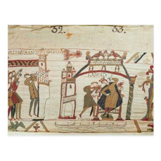 Carte Postale La comète et le Harold de Halley recevant la