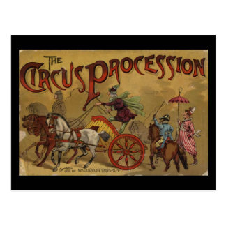 Carte Postale La couverture arrière de cortège de cirque