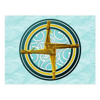 Carte Postale La croix de Brigid jaune sur le bleu