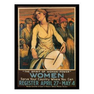 Carte Postale La deuxième guerre mondiale de Femme-Puissance