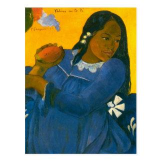 Carte Postale La femme de Paul Gauguin avec une mangue (1892)
