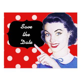 Carte Postale la femme de pointage des années 1950 font gagner