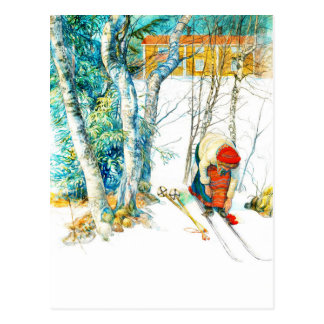 Carte Postale La femme met dessus ses skis