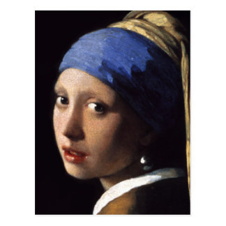 Carte Postale La fille avec une boucle d'oreille de perle se
