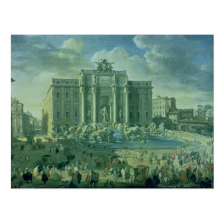 Carte Postale La fontaine de TREVI à Rome, 1753-56