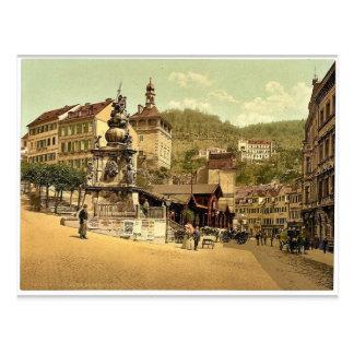 Carte Postale La fontaine du marché, Carlsbad, Bohême,