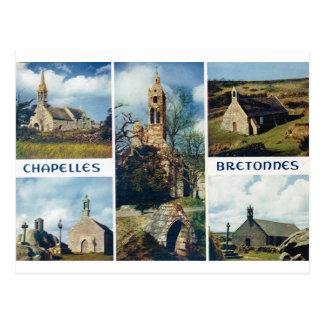 Carte Postale La France vintage, la Bretagne, églises et