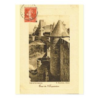 Carte Postale La France vintage, murs de Carcasonne médiéval
