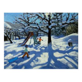 Carte Postale La glissière en hiver Bourg St Moritz