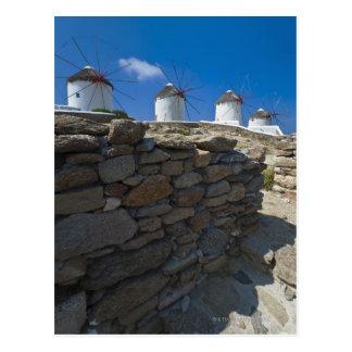 Carte Postale La Grèce, îles de Cyclades, Mykonos, mur en pierre