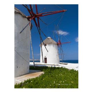 Carte Postale La Grèce, îles de Cyclades, Mykonos, vieux moulins