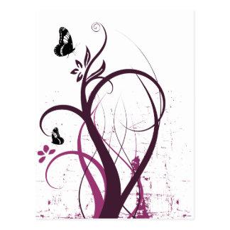 Carte Postale La grunge tourbillonne rose de 2 papillons