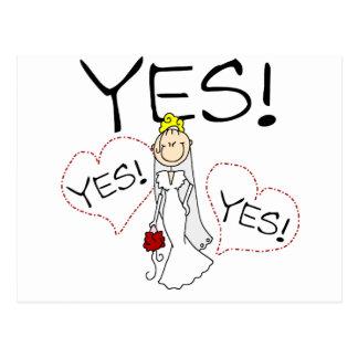 Carte Postale La jeune mariée dit oui des T-shirts et des