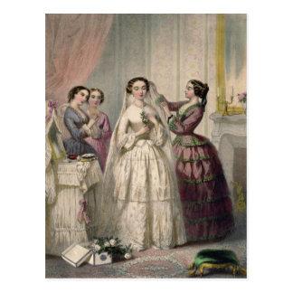 Carte Postale La jeune mariée, gravée par J. Battannier, 1852-53
