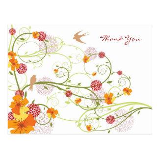 Carte Postale La ketmie jaune tourbillonne Merci de mariage de