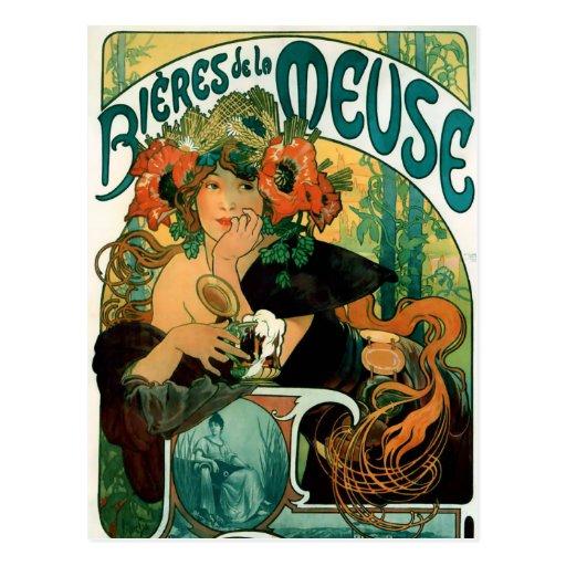 Carte postale : La la Meuse de Mucha - de Bieres D