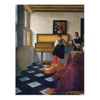 Carte Postale La leçon de musique de Johannes Vermeer