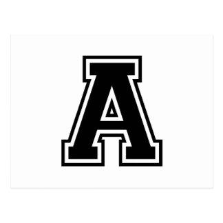 Carte Postale La lettre A, alphabet collégial