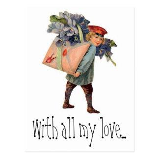 Carte Postale La livraison vintage de lettre d'amour, avec tout