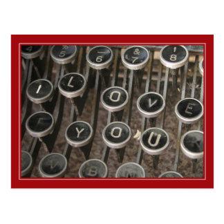 """Carte Postale La machine à écrire verrouille """"je t'aime """""""