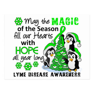 Carte Postale La maladie de Lyme de pingouins de Noël