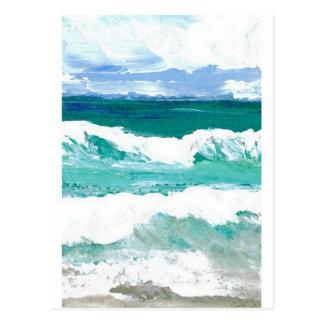 Carte Postale La mer de danse d'océan de vagues ondule des
