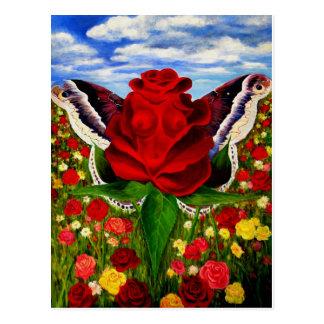 Carte Postale La mer des roses par Lenny opacifie surréaliste