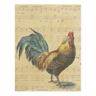 Carte Postale La musique de feuille vintage de coq note le pays