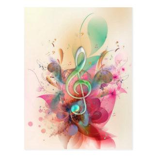 Carte Postale La musique fraîche de clef triple de couleurs pour