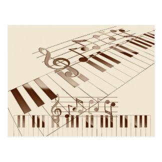 Carte Postale La musique note l'illustration