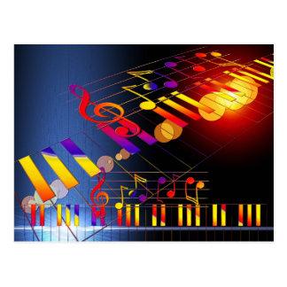 Carte Postale La musique note l'illustration colorée
