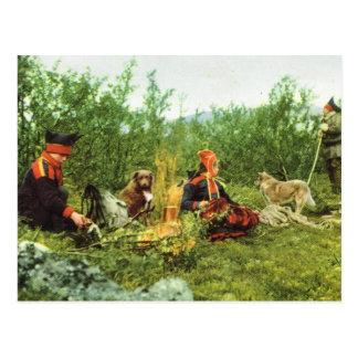 Carte Postale La Norvège vintage, Laponie, coin du feu de