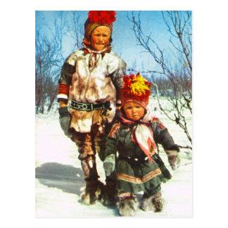 Carte Postale La Norvège vintage, Laponie, enfants de Sami dans