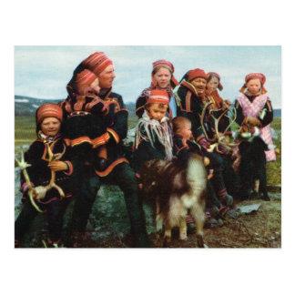 Carte Postale La Norvège vintage, Laponie, famille 1950 de Sami