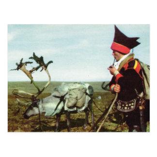 Carte Postale La Norvège vintage, voyage norvégien avec un renne
