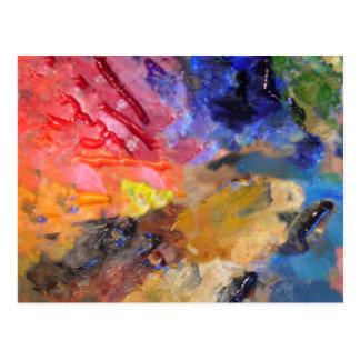 Carte Postale La palette du peintre des peintures colorées