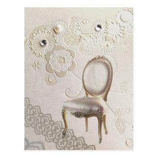 Carte Postale la perle girly élégante tourbillonne dentelle