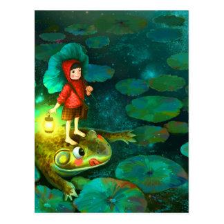 Carte Postale La petite fille dans l'étang avec frog.jpg