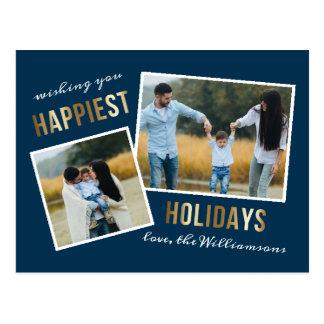 Carte Postale La photo de Noël de manuscrit de vacances la plus