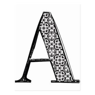 Carte Postale La police de mode, marquent avec des lettres A