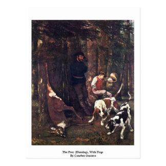 Carte Postale La proie (chasse), avec des chiens par Courbet