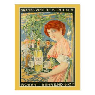 Carte Postale La publicité française vintage de bordeaux blanc