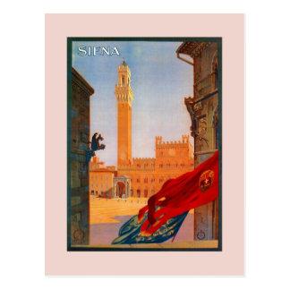 Carte Postale La publicité italienne vintage de voyage de Sienne
