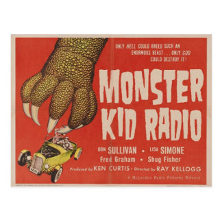 Carte Postale La radio d'enfant de monstre rencontre le monstre