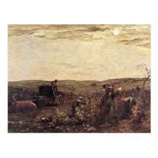 Carte Postale La récolte de vin en Bourgogne, 1863
