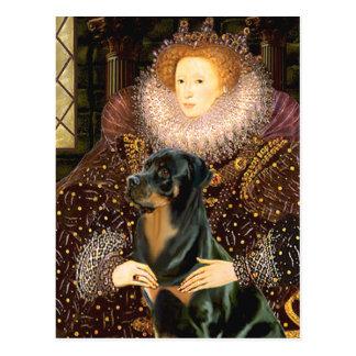 Carte Postale La Reine Elizaabeth I - rottweiler