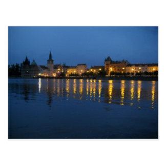 Carte Postale La rivière de Vltava la nuit
